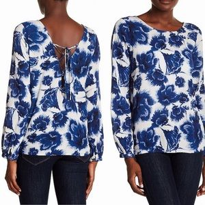 NWT Billabong blue and white floral blouse